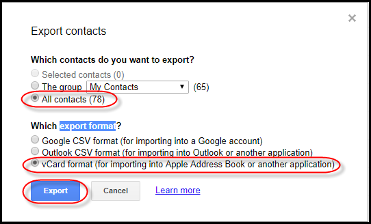 export format