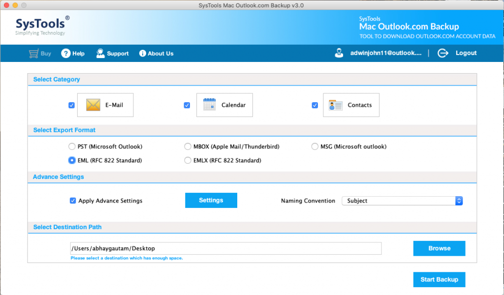 select format to archive outlook.com emails