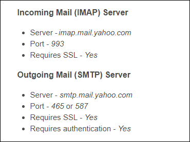 Yahoo mail server configuration