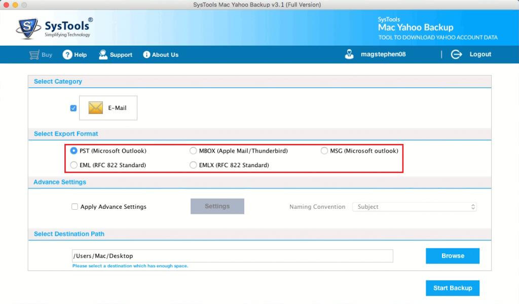 select mac mail format