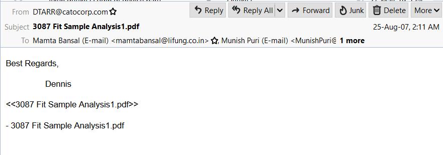 original email message