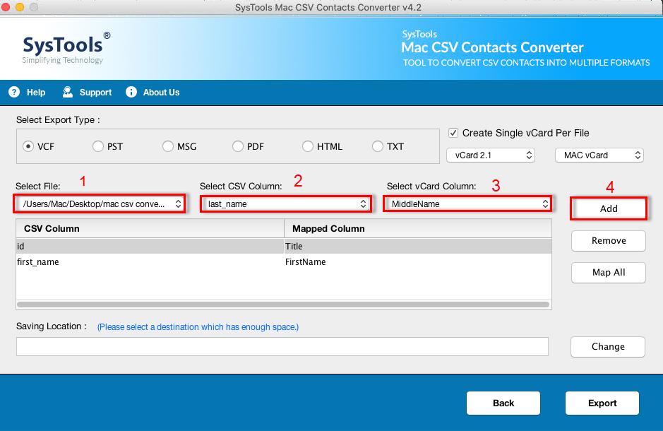 Select vCard Version