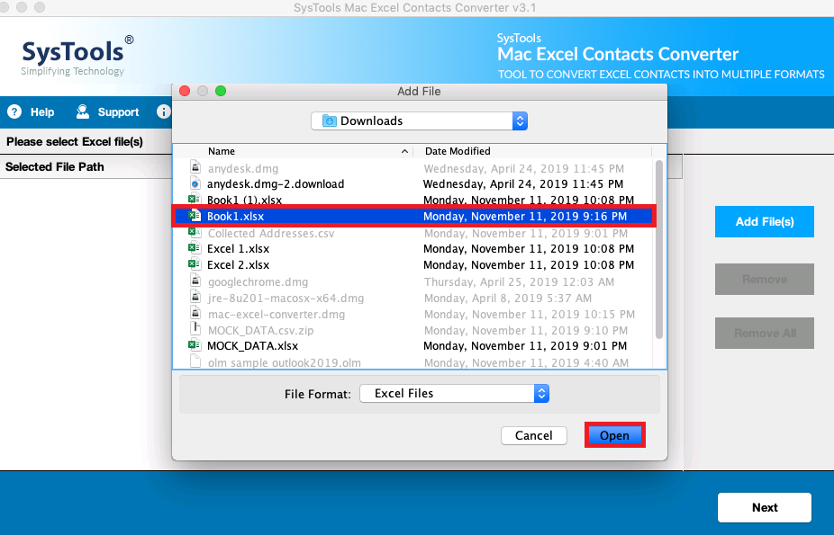 Select Excel Files