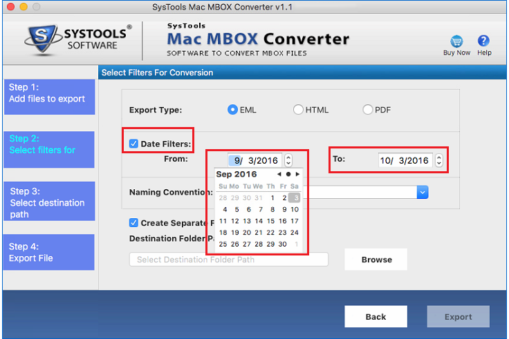 Filter option of MBOX to Outlook 2016