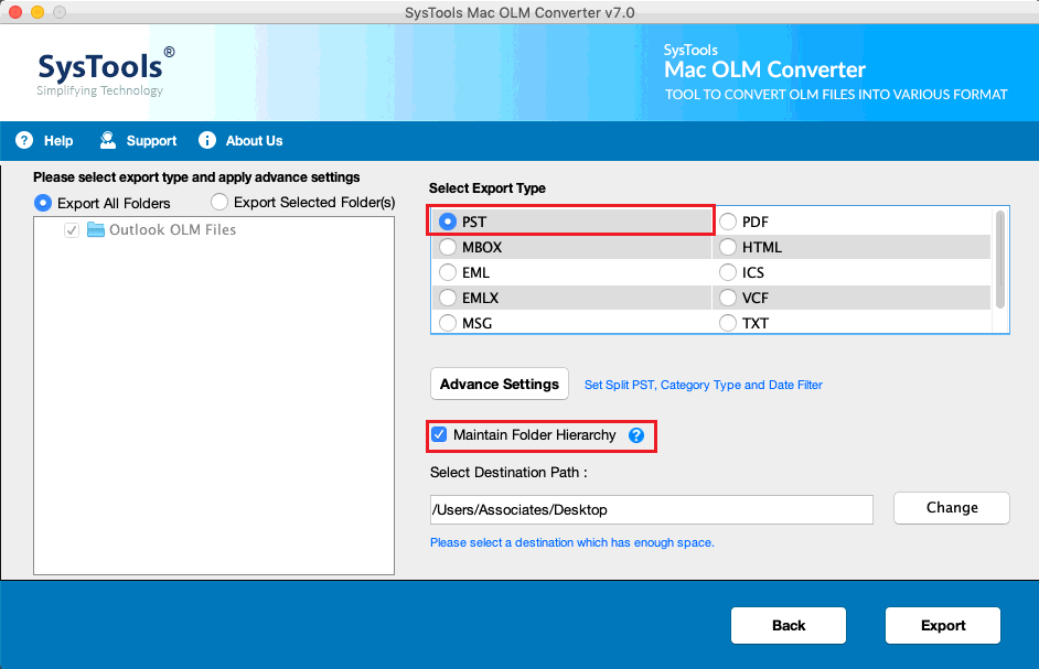 MAC OLM to PST Converter to Export OLM to MBOX, EML, MSG